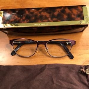 Tory Burch prescription glasses. Dark red color